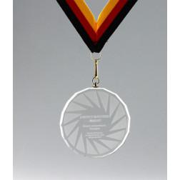 Kristallglas Medaille geschliffen