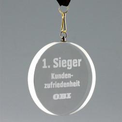 Kristallglas Medaille sandgestrahlt