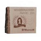 Holzaward Noblesse mit Rinde und individueller Gravur - Woodcracker-Award