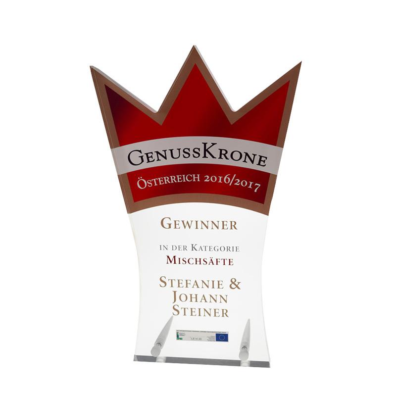 Bedruckter Acryl Award in Sonderform mit Metallstandfüßen